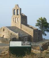 Señalización del conjunto monumental de Sant Pere de Rodes.